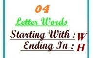 Four letter words starting with W and ending in H