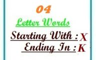 Four letter words starting with X and ending in K