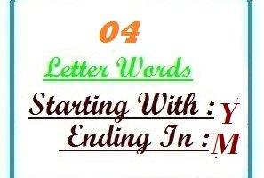 Four letter words starting with Y and ending in M