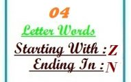 Four letter words starting with Z and ending in N