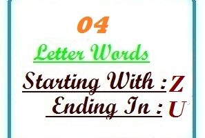 Four letter words starting with Z and ending in U