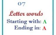 Seven letter words starting with A and ending in A