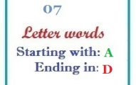 Seven letter words starting with A and ending in D