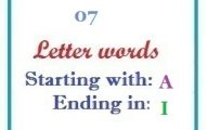 Seven letter words starting with A and ending in I