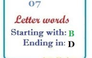 Seven letter words starting with B and ending in D