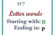 Seven letter words starting with B and ending in P