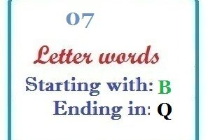 Seven letter words starting with B and ending in Q