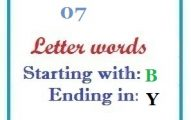 Seven letter words starting with B and ending in Y