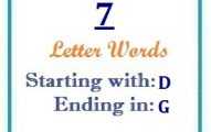 Seven letter words starting with D and ending in G