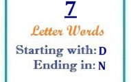 Seven letter words starting with D and ending in N