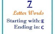 Seven letter words starting with E and ending in C
