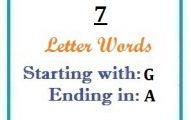Seven letter words starting with G and ending in A