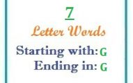 Seven letter words starting with G and ending in G