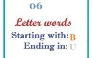 Six letter words starting with B and ending in U