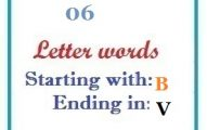 Six letter words starting with B and ending in V