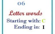 Six letter words starting with C and ending in I