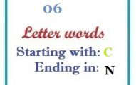 Six letter words starting with C and ending in N