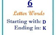 Six letter words starting with D and ending in K