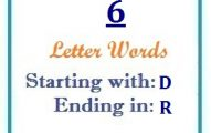 Six letter words starting with D and ending in R