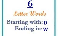 Six letter words starting with D and ending in W