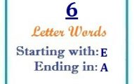 Six letter words starting with E and ending in A