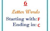 Six letter words starting with F and ending in C