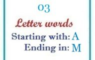 Three letter words starting with A and ending in M