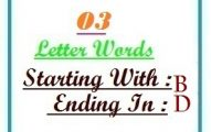 Three letter words starting with B and ending in D