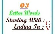 Three letter words starting with C and ending in V