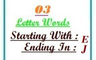 Three letter words starting with E and ending in J