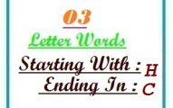Three letter words starting with H and ending in C