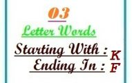 Three letter words starting with K and ending in F