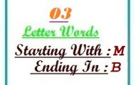 Three letter words starting with M and ending in B