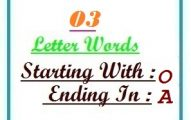 Three letter words starting with O and ending in A