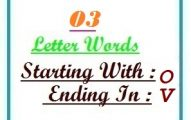 Three letter words starting with O and ending in V