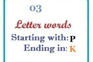 Three letter words starting with P and ending in K