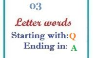 Three letter words starting with Q and ending in A