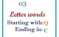 Three letter words starting with Q and ending in C