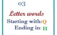 Three letter words starting with Q and ending in H