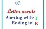 Three letter words starting with T and ending in B