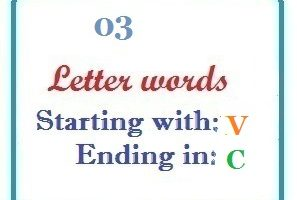Three letter words starting with V and ending in C
