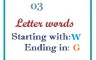Three letter words starting with W and ending in G