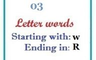 Three letter words starting with W and ending in R