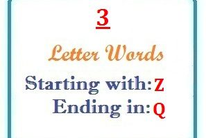 Three letter words starting with Z and ending in Q