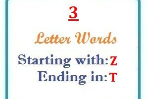 Three letter words starting with Z and ending in T