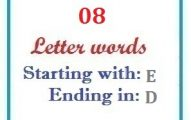 Eight letter words starting with E and ending in D