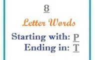Eight letter words starting with P and ending in T