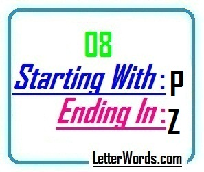 Eight letter words starting with P and ending in Z