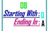 Eight letter words starting with Q and ending in A