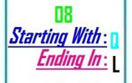Eight letter words starting with Q and ending in L